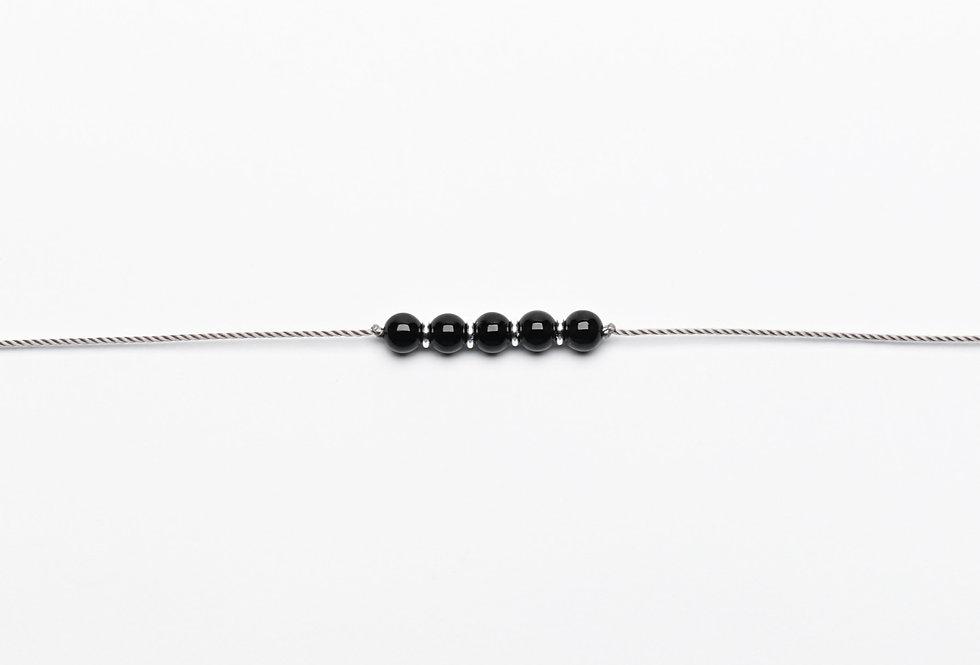 Onyx & Silver Premium String Bracelet