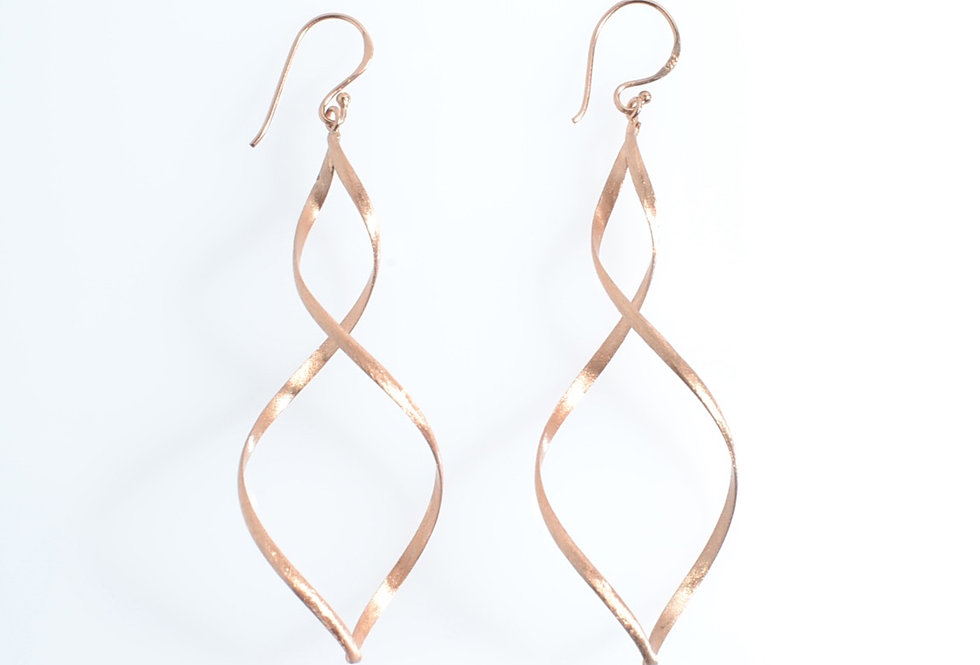 Rose Gold Infinity Design Dangle Earrings