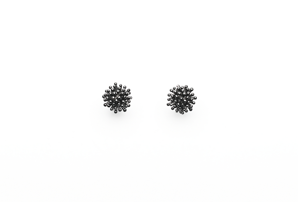 Black Rhodium Coral Earrings