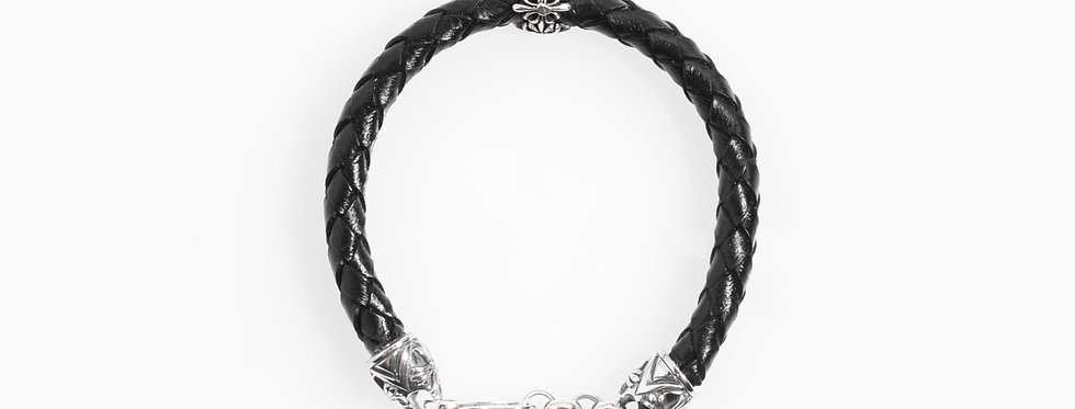 Black Leather Bracelet with Silver Clasp and Bead
