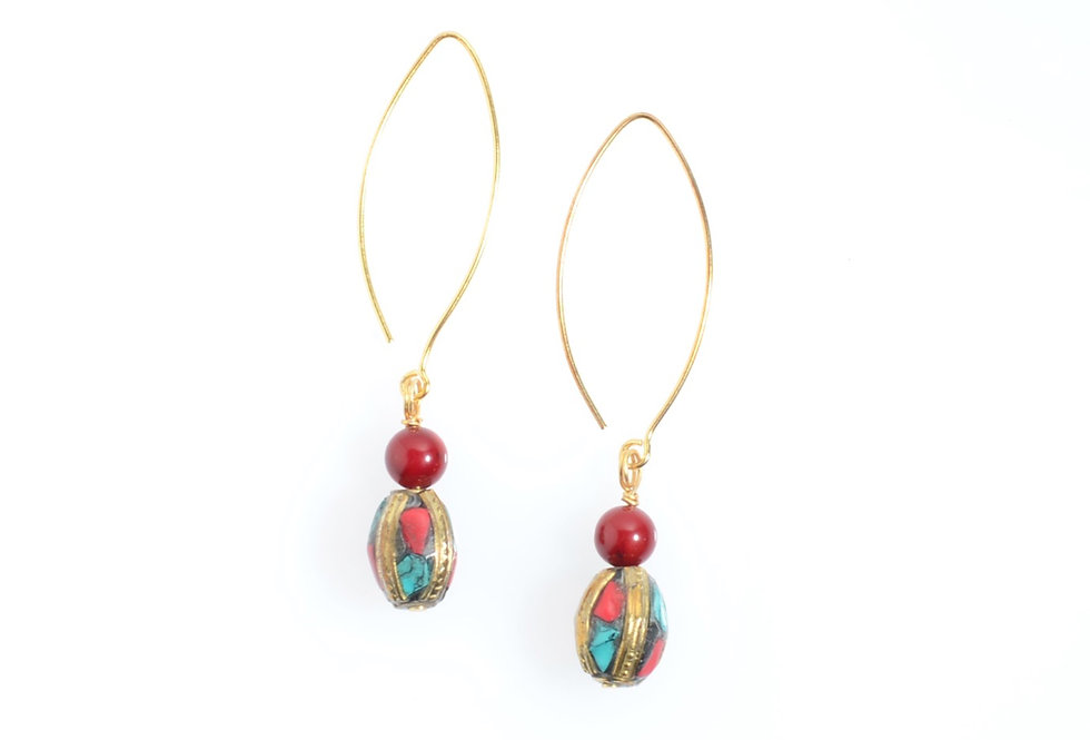 Red Coral and Handmade Ornamental Bead Gold Earrings