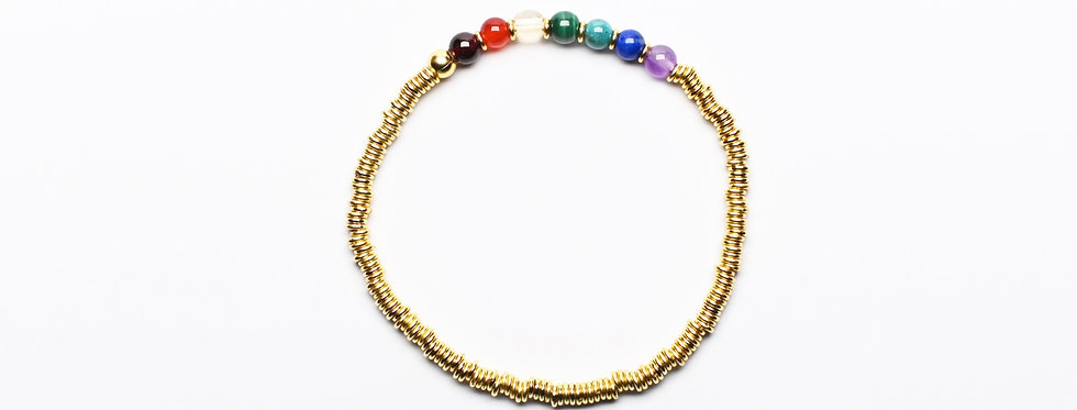 7 Chakras RAINBOW   Gemstones Gold Balancing Bracelet
