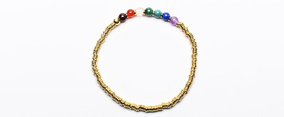 7 Chakras RAINBOW | Gemstones Gold Balancing Bracelet