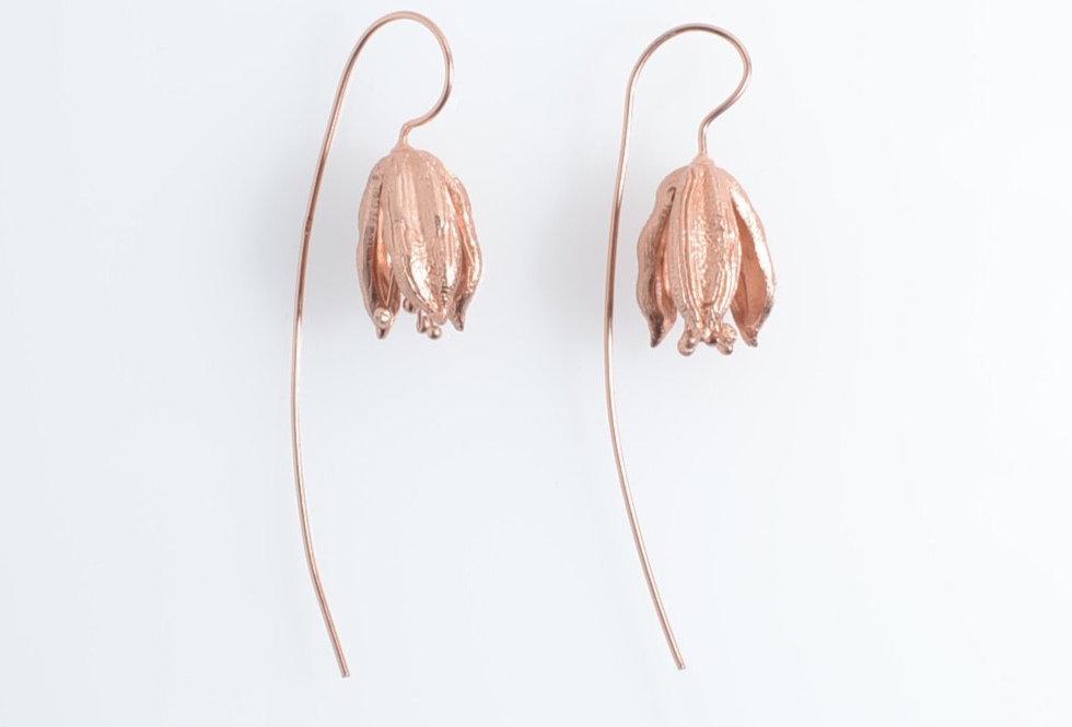 Rose Gold Tulips Design Drop Earrings