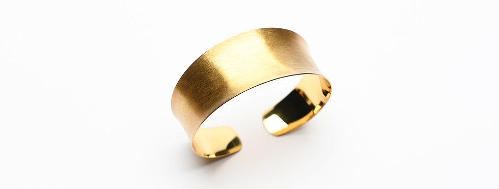 Concave Hand-Brushed Gold Cuff Bracelet | Medium