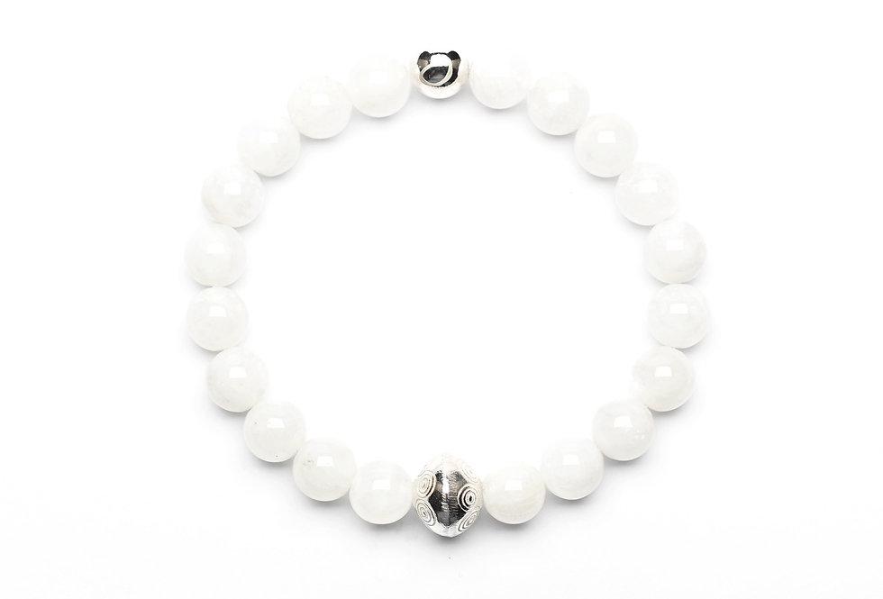 Moonstone (8mm) Silver Ornament Bracelet