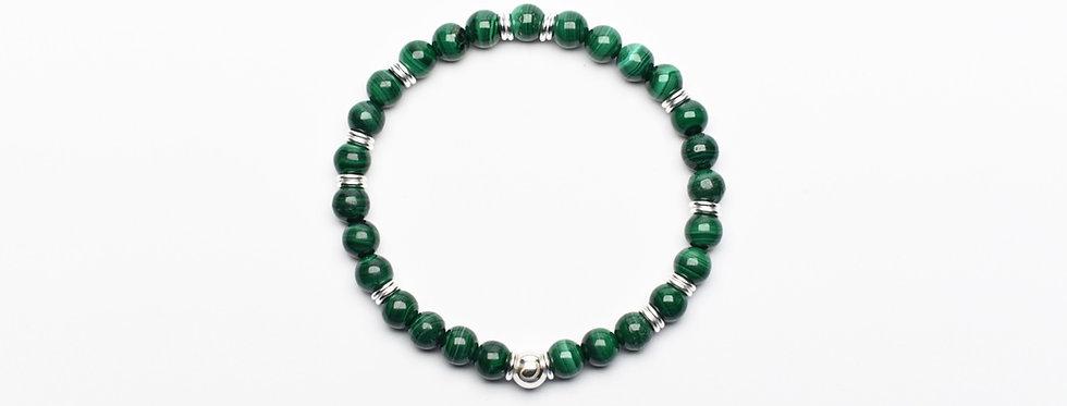 Malachite Silver Peace Bracelet