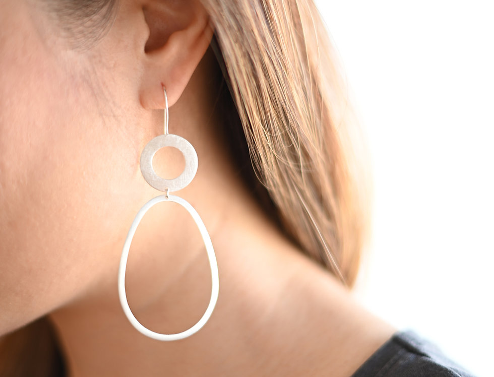 Silver bold circle & pear dangle earrings