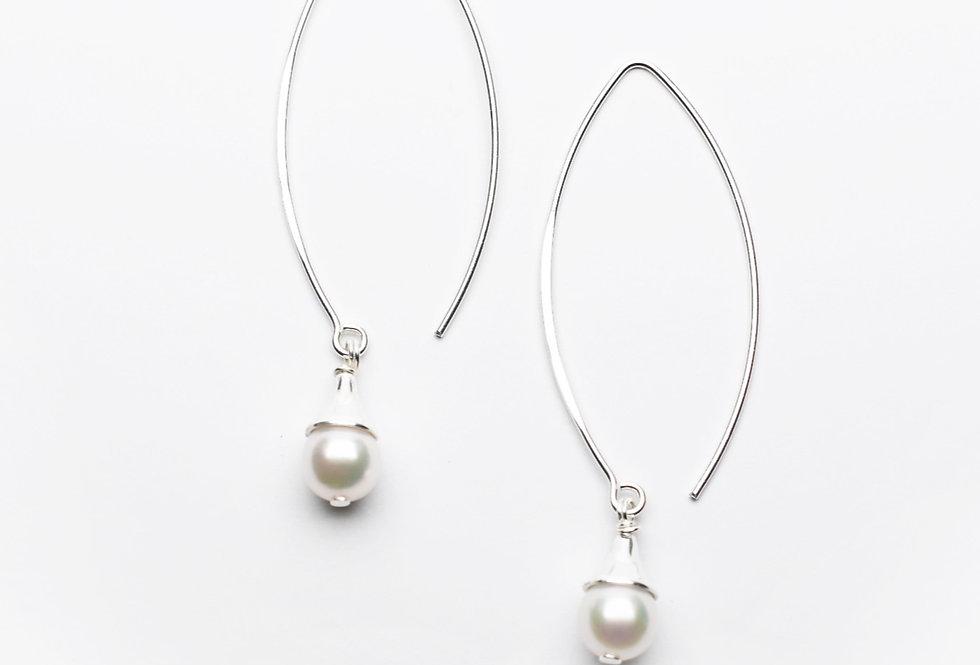 Akoya Pearl Silver Drop Earrings