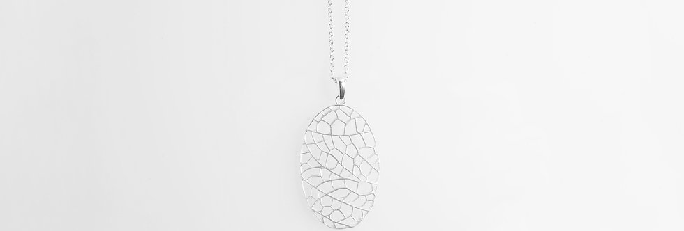 Brushed Silver Pendant of Leaf Veins Design on Chain