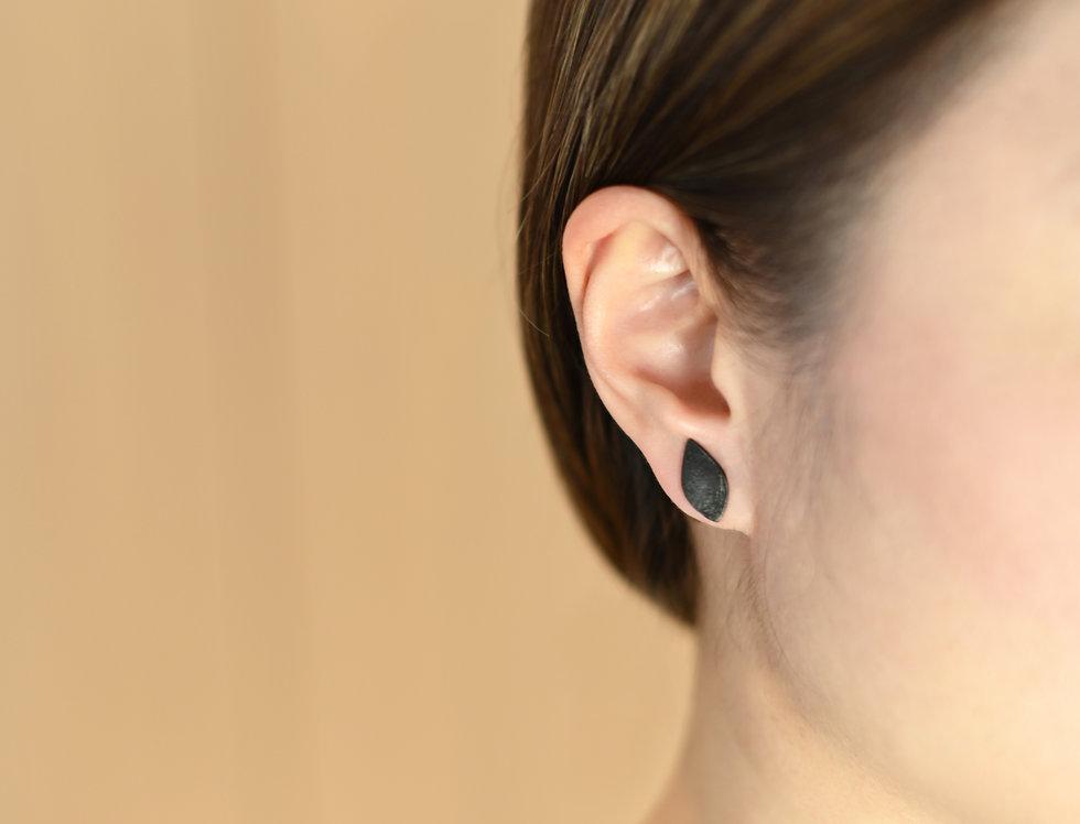 Black Rhodium Brushed Wavy Leaf Earrings