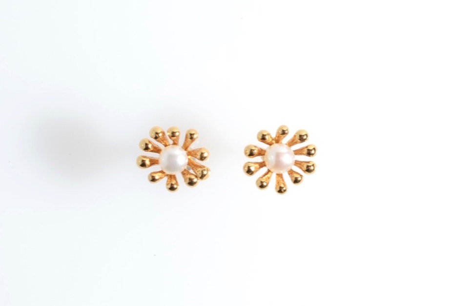 Gold Blossom Pearl Earrings
