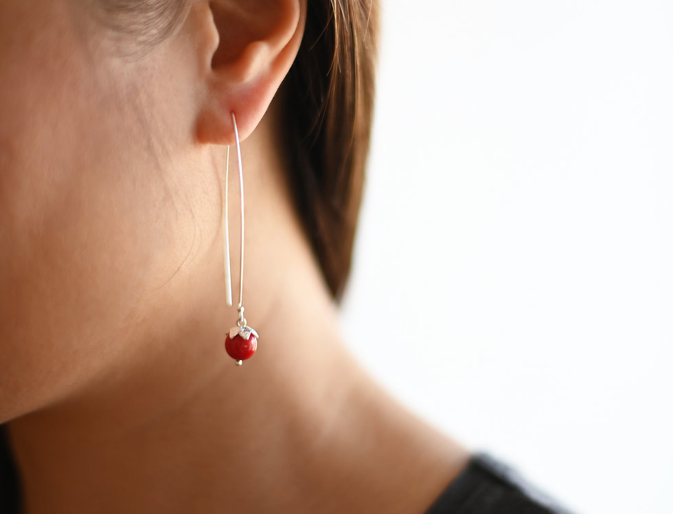 Silver red coral hanging earrings