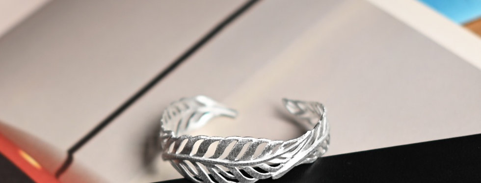 Three Feathers Brushed Silver Cuff Bracelet