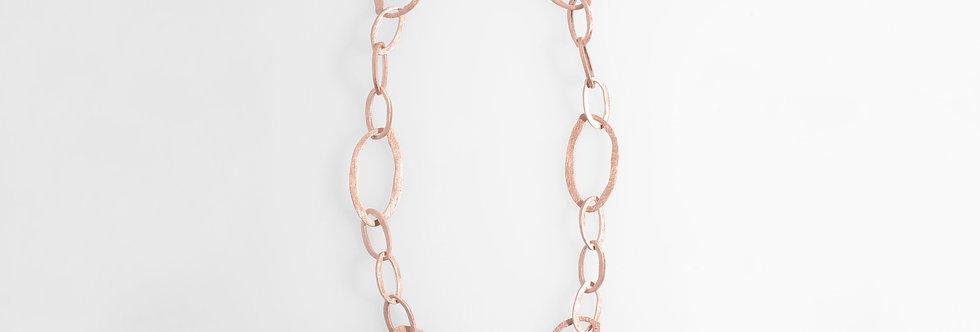 Brushed Rose Gold Plated Irregular Ovals Necklace