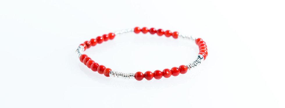 Coral Wheel Silver Bracelet