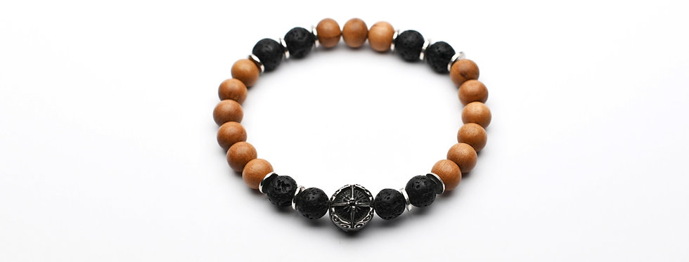 Sandalwood and Lava Rock Silver Ornament Bracelet