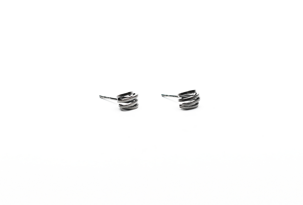 Black Rhodium Mini Spiral Earrings