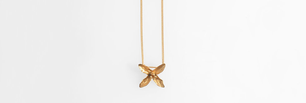 Brushed Gold Plated Lily Pendant on Chain