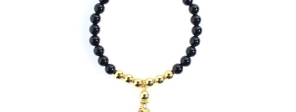 Gold Tassel Charm Bracelet (ONYX)