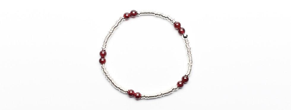 Garnet Twins Silver Bracelet