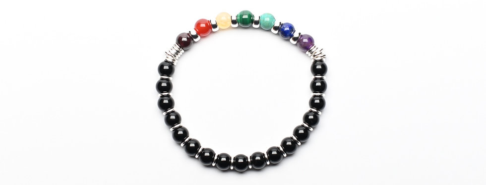 7 Chakras Gemstones & Black Onyx | Protection & Strength Bracelet