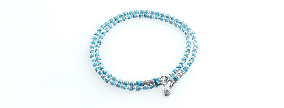 Silver Beads Double Wrap Cotton Wax Bracelet