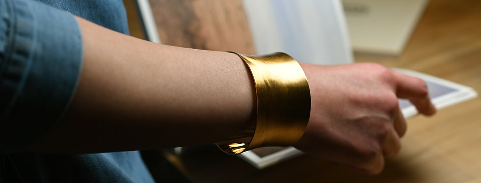 Concave Hand-Brushed Gold Cuff Bracelet   Wide