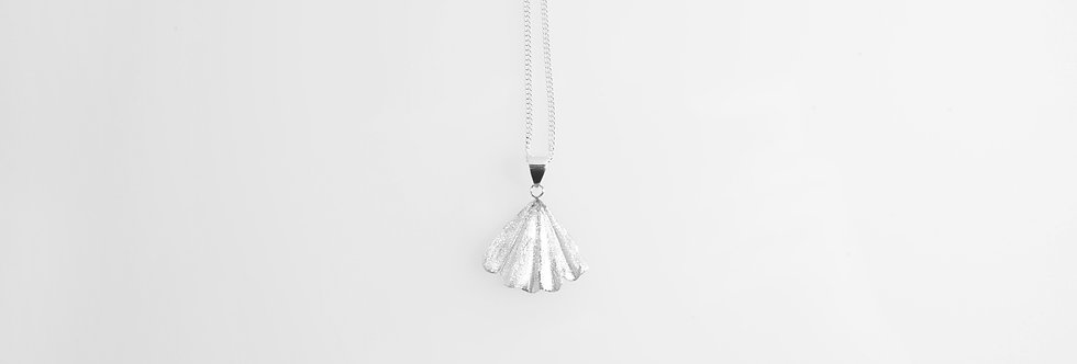 Brushed Silver Shell Pendant on Chain