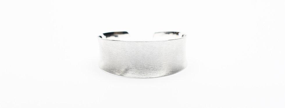 Concave Hand-Brushed Sterling Silver Cuff Bracelet   Medium