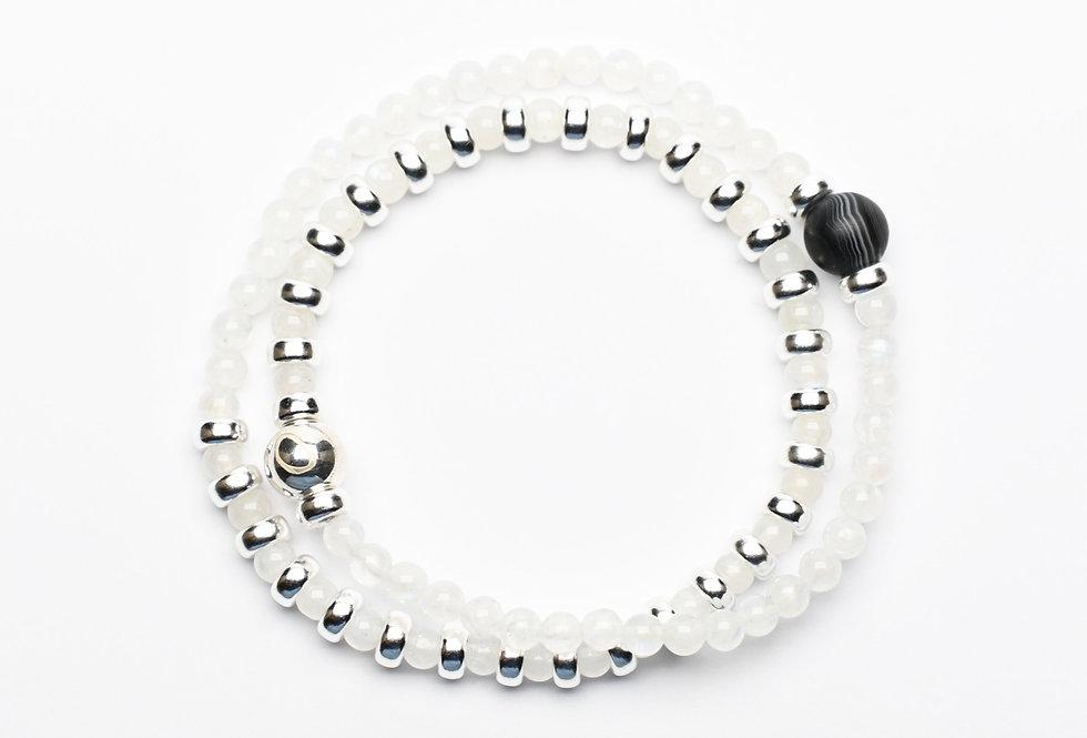 Moonstone & Black Agate Double Wrap Silver Bracelet