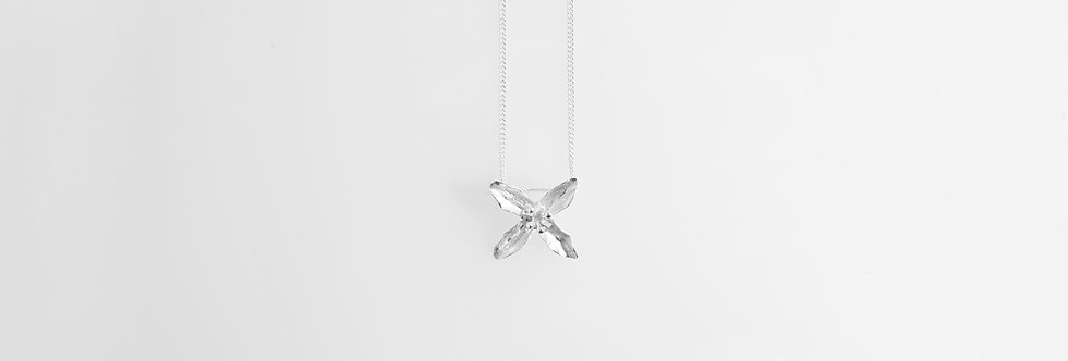 Brushed Silver Lily Pendant on Chain