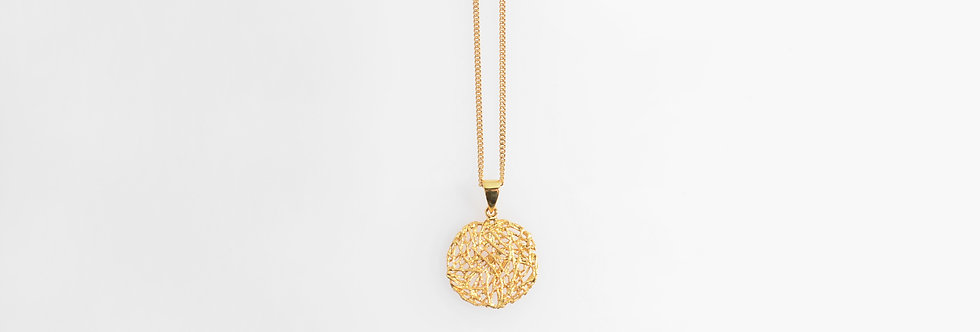 Brushed Gold Plated Nest Pendant on Chain