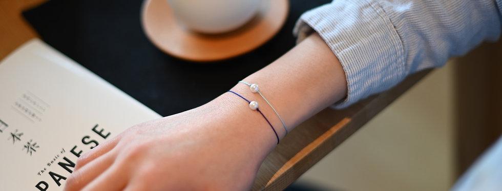 Akoya Pearl Premium String Bracelet NAVY / PASTEL BLUE - Single Pearl (6mm)
