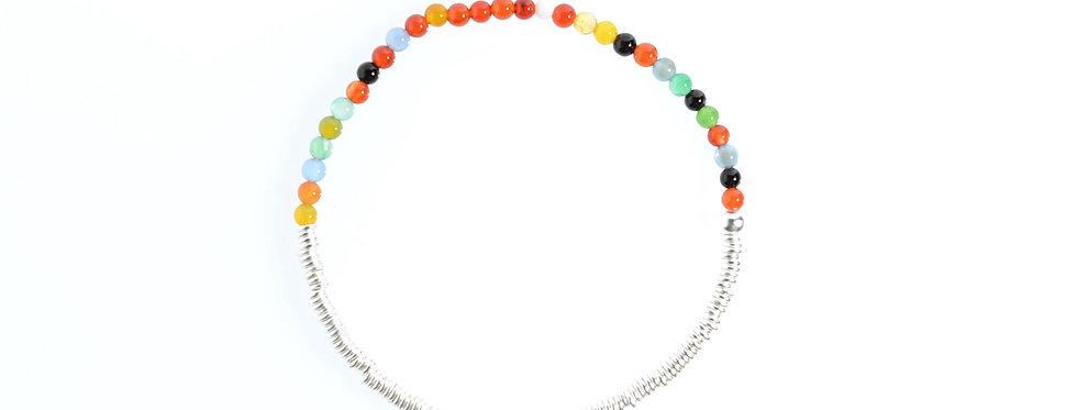 Colourful Agates Silver Bracelet