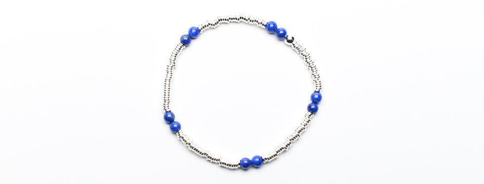 Lapis Lazuli Twins Silver Bracelet