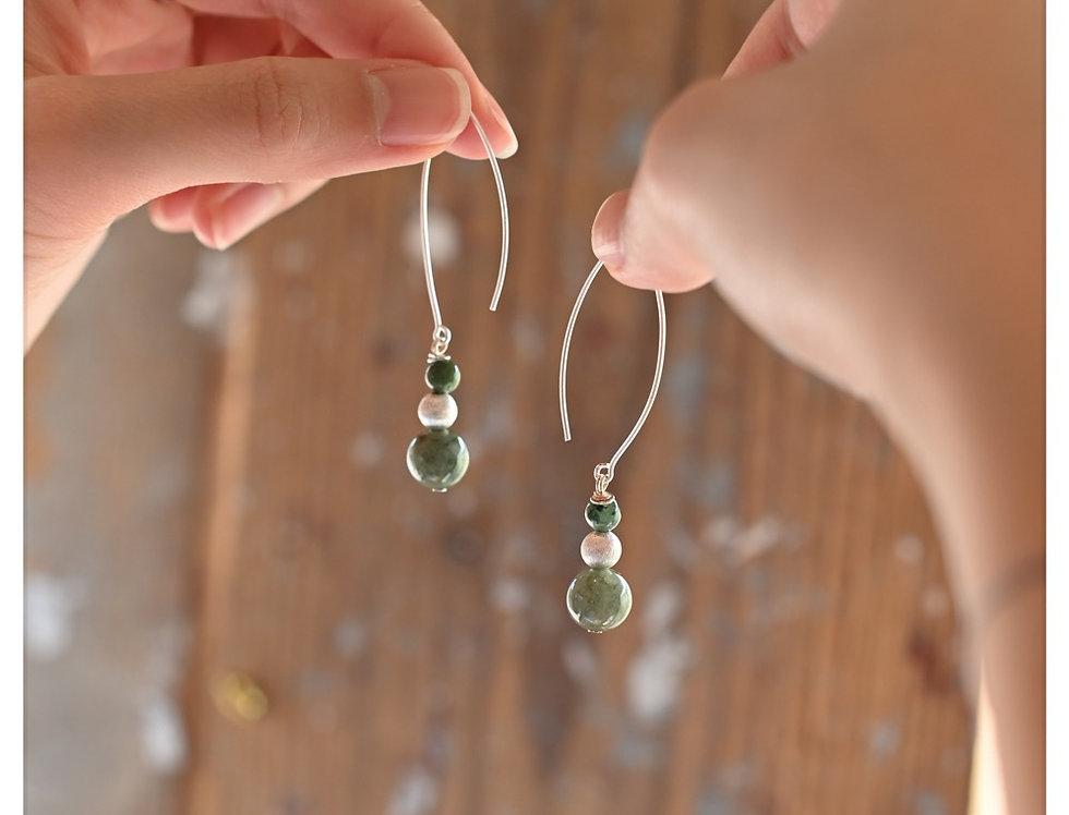 Handmade Burma Jade Silver Beaded Earrings
