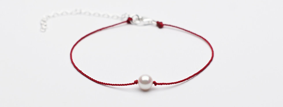 Akoya Pearl Premium String Bracelet SCARLET RED - Single Pearl (6mm)