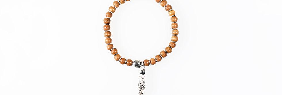 Sandalwood Silver Tassels Bracelet