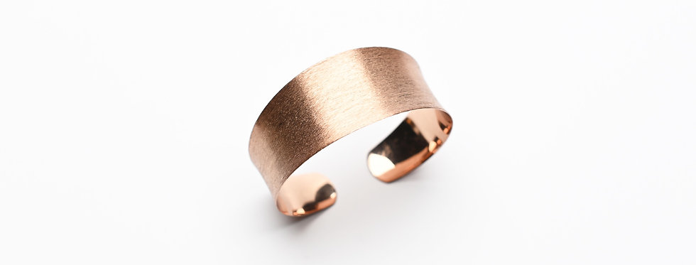 Concave Hand-Brushed Rose Gold Cuff Bracelet | Medium