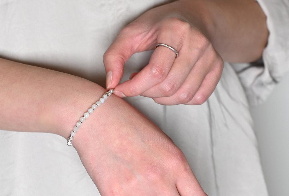 Moonstone & Silver Stripes Bracelet