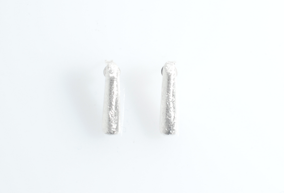 Silver Brushed Cone Earrings
