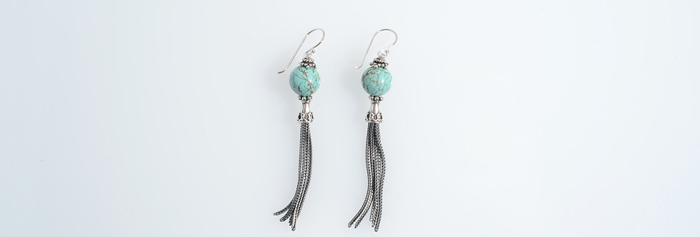 Silver Tassels Earrings Turquoise