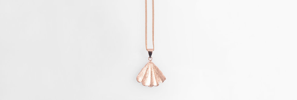 Brushed Rose Gold Plated Shell Pendant on Chain