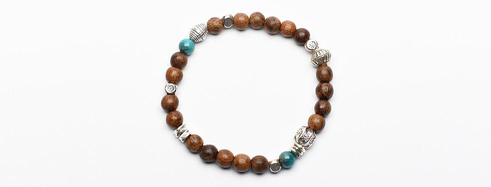 Wood turquoise silver bracelet