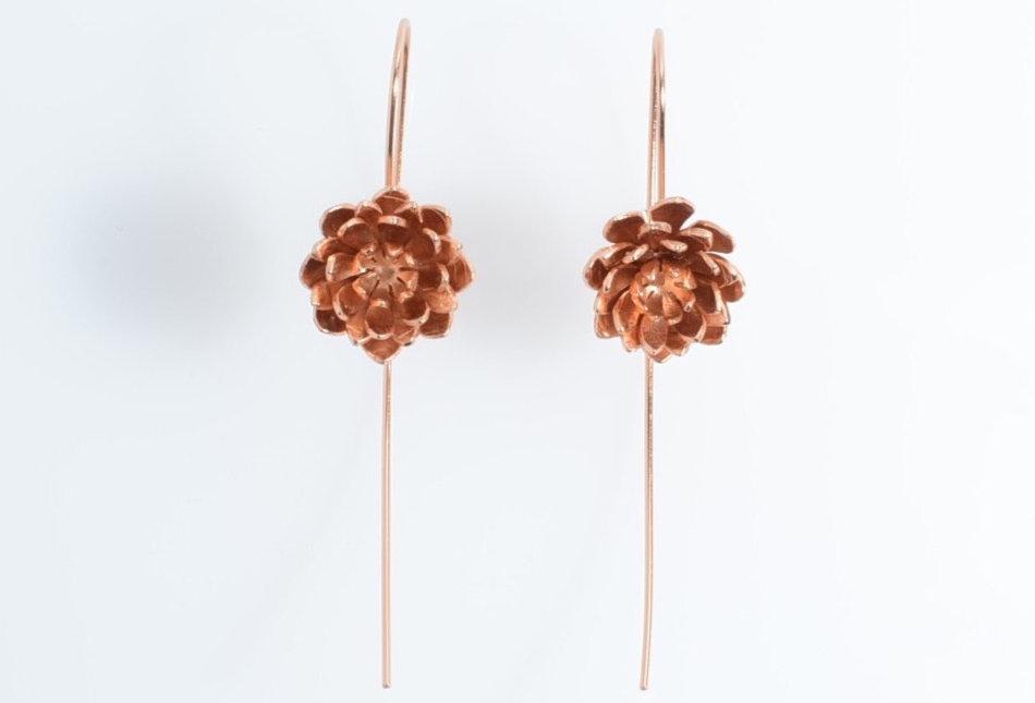Rose Gold Lotus Flower Design Drop Earrings
