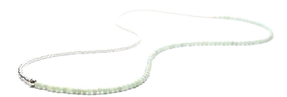 """Jade (4mm) & Silver Two-Tone Medium Long Necklace 28"""""""