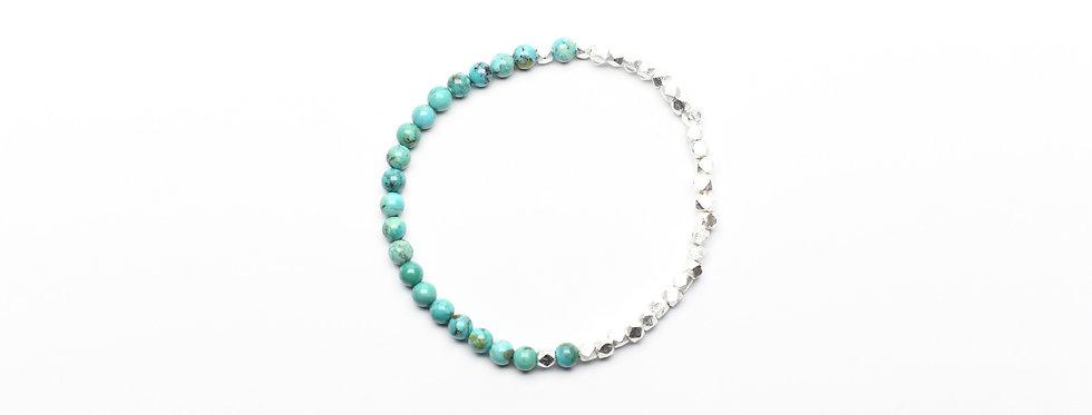 Turquoise Two-Tone Silver Bracelet