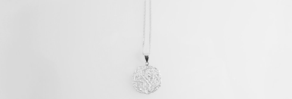 Brushed Silver Nest Pendant on Chain