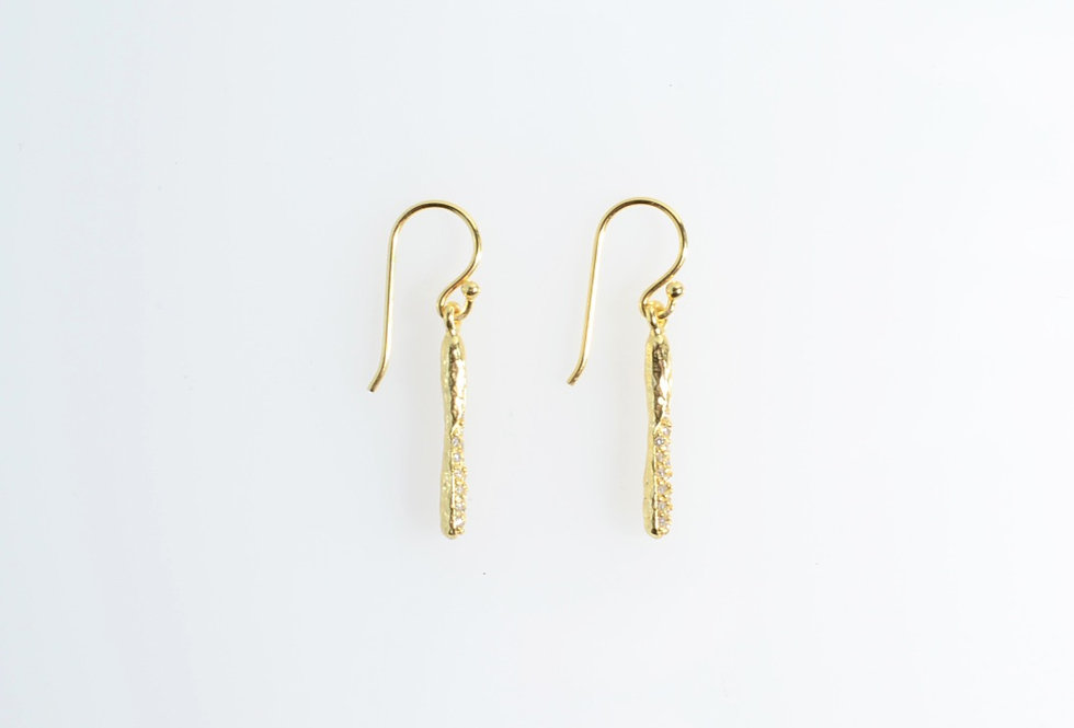 White Crystals on Hammered Gold Bar Earrings